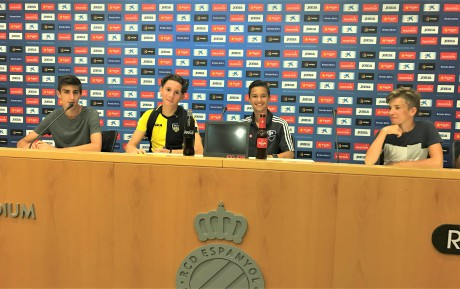 Football_summer_trainings_for_teens_in_Barcelona_Spain_visiting_press_conference_hall_at_espanyol_stadium